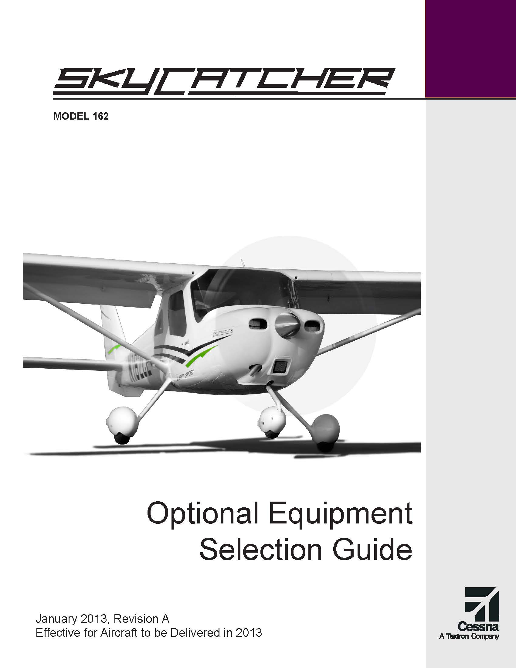 Cessna Skycatcher optional equipment guide