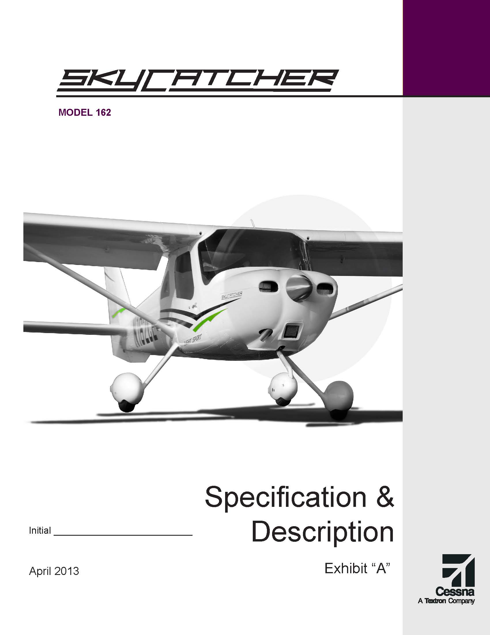 Cessna Skycatcher specification and description